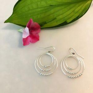 Jewelry - Sterling Silver Beaded Hoop Earrings